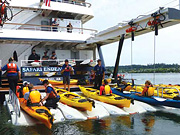 Safari Endeavour - Onboard kayak loading dock
