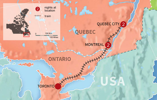 Montreal and Quebec City Fairmont Getaway by Rail - Map