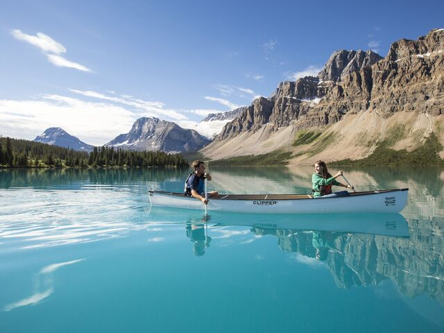 Canoeing on Bow Lake, Banff National Park