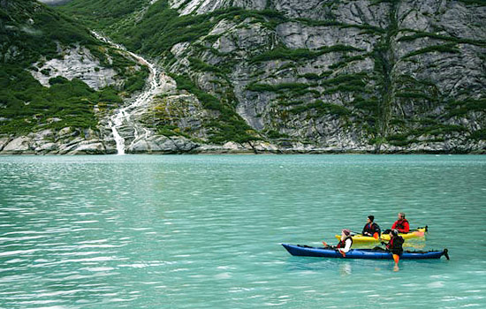 Kayaking on the Alaskan fjord