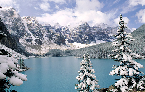 Moraine Lake in winter, Banff National Park