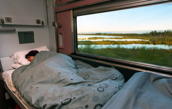 sleeping on the overnight train to Churchill