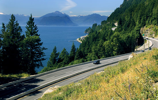 The Sea to Sky highway in British Columbia