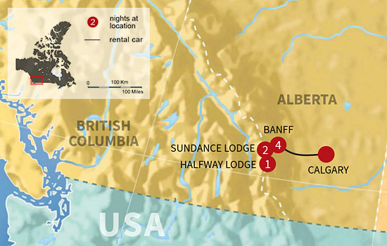 Banff Backcountry Lodge Adventure - Map