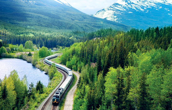 VIA Rail 'Canadian' train in the Canadian Rockies