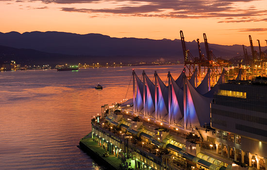 Canada Place lights up at sunset