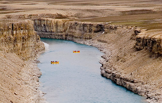 River rafting on a guided tour in the arctic