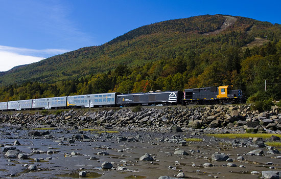 Le Massif train travels through the Charlevoix mountains