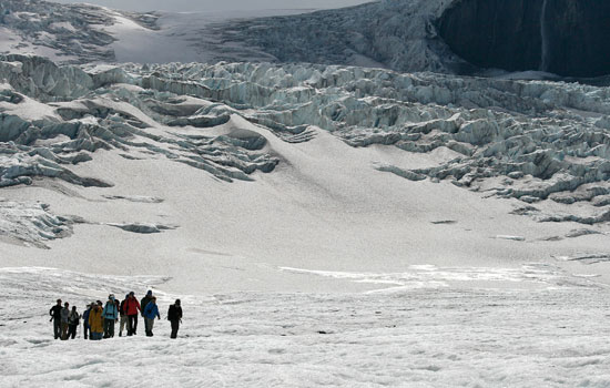 Tour group on the Columbia Icefields