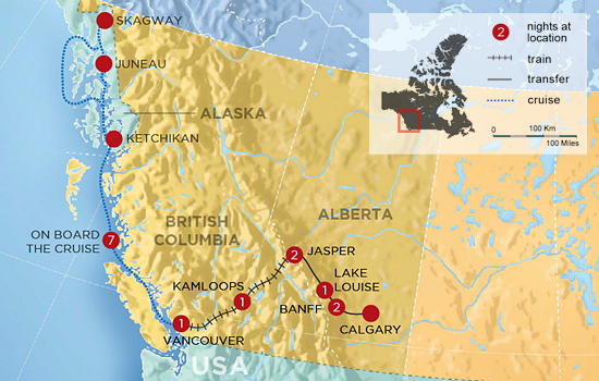 Canadian Rockies by Rail with Alaska Cruise - Map