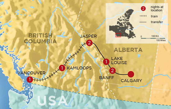 Canadian Rockies by Rail – Map