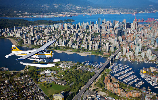 Vancouver downtown aerial view with seaplane