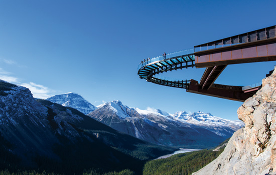 Between Banff and Jasper National Parks visit the famous Glacier Skywalk along the Icefields Parkway.