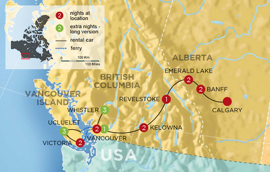 Canadian Rockies to Rainforest Vacation - Map