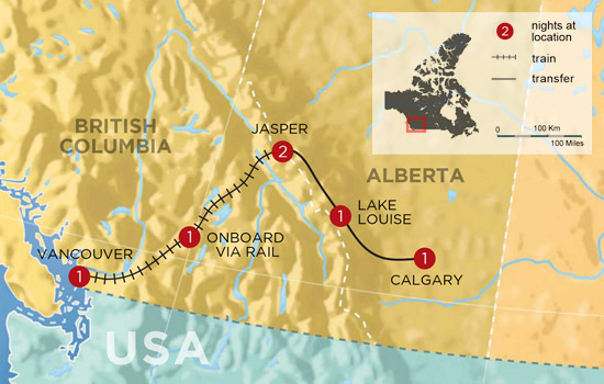 Canadian Rockies Winter Escape by Train - Map