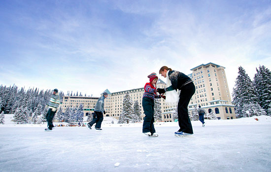 Ice skating outside the Chateau Lake Louise