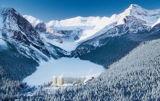 Lake Louise and the Fairmont Chateau in winter
