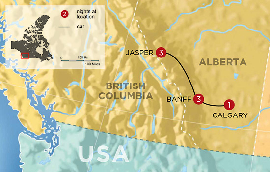 Canadian Rockies Winter Vacation - Map