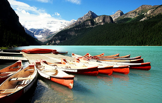 Canoe dock at Lake Louise in the Canadian Rockies