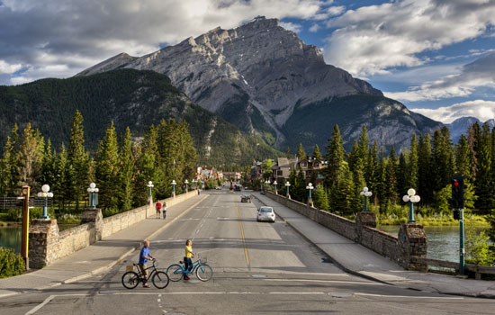 The mountain town of Banff in the Canadian Rockies