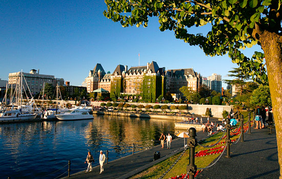View of the inner harbour in Victoria, BC, and the Empress hotel