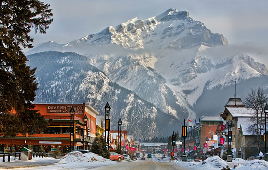 Banff town in winter