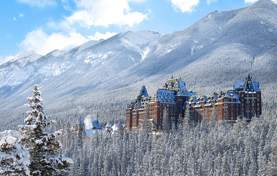 The Banff Springs hotel covered in snow