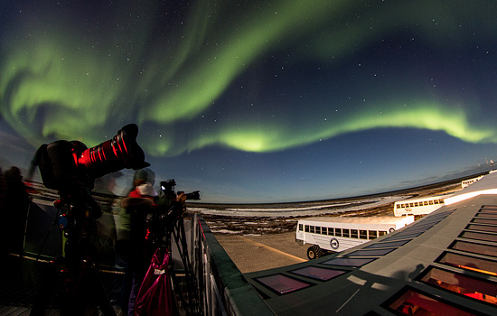 A Tundra Buggy has views of the bright green northern lights illuminating the night sky