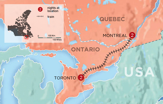 Toronto and Montreal Like a Local - Map