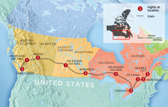 Fairmont Great Canadian Railway Adventure  – Map