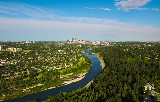 Your departure from the Canadian Rockies takes you through the bustling city of Calgary.