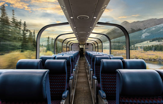 The dome car onboard the Canadian train as it travels cross country