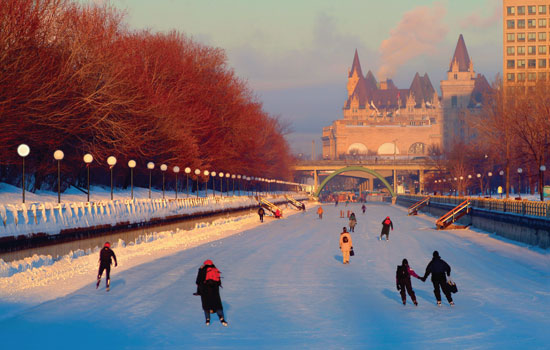 Rideau Canal in winter, Ottawa.