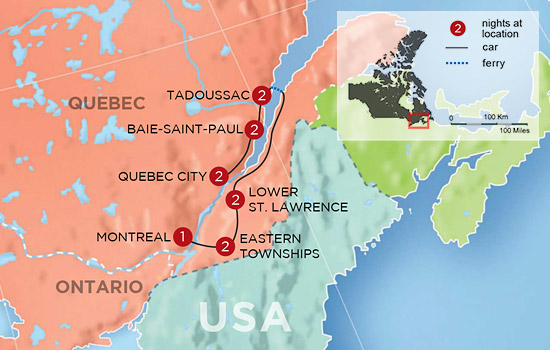 Culture and Countryside of Quebec - Map