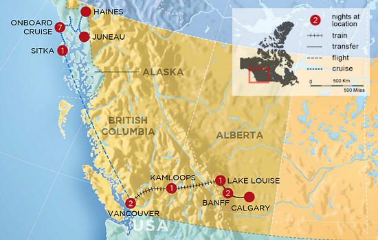 Essential Rockies by Rail with Alaskan Cruise - Map