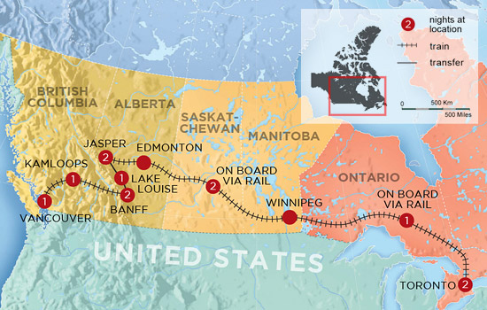 Experience Canada by Rail – Map
