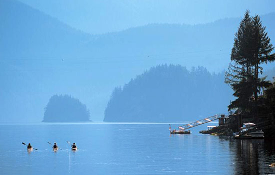 Three kayakers paddle along the Clayoquot Sound on Vancouver Island