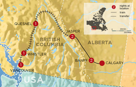 Canadian Rockies Golf and Spa by Rail  – Map