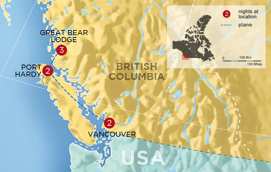 Grizzly Bears of the Great Bear Rainforest - Map