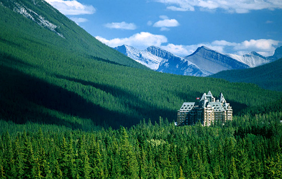 The Fairmont Banff Springs sits at the base of the Rocky Mountains