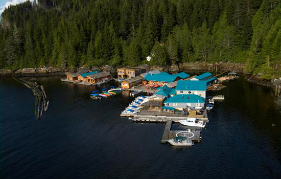 An aerial view of the lodge we use for observing the Grizzlies.