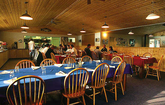 The dining room of the lodge.