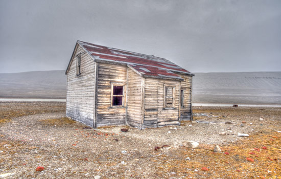 Abandoned buildings of the arctic ghost towns