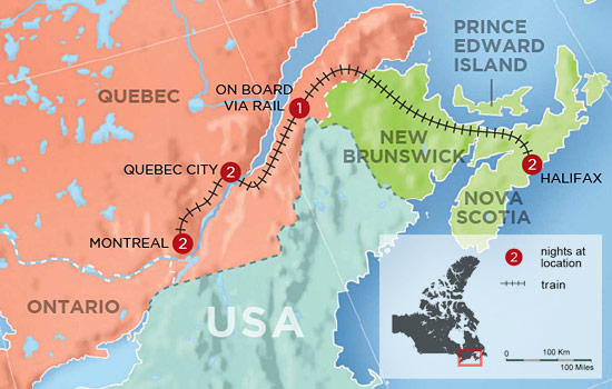 Highlights of Eastern Canada – Map
