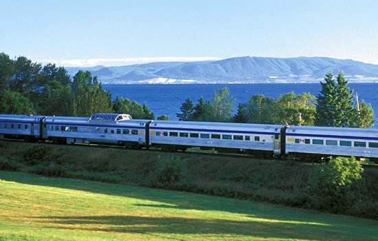 VIA Rail 'Ocean' train travelling through the counrtyside