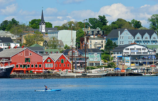 A quaint seaside town in Nova Scotia with brightly painted buildings