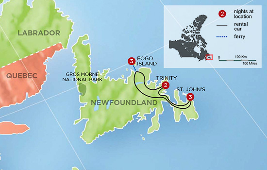 Ferryland to Fogo - Eastern Newfoundland Adventure - Map