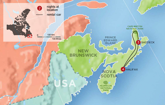 Private Nova Scotia Adventure - Map