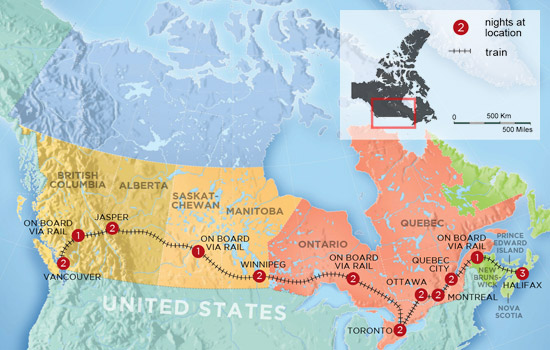 Pan Canadian Train Experience - Map