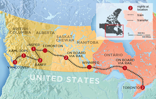 Vancouver to Toronto Train Tour - Map